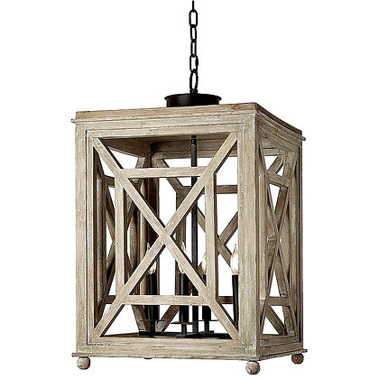 Wood Lattice Lantern Chandelier