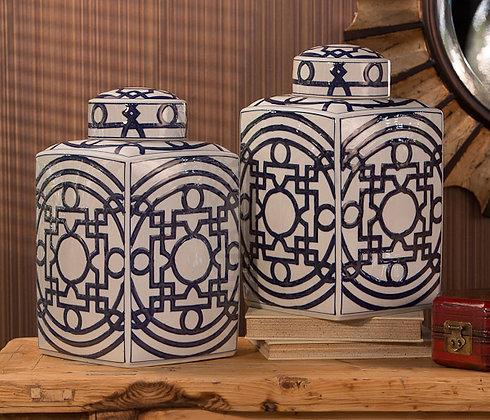 Blue/White Geometric Tea Jar