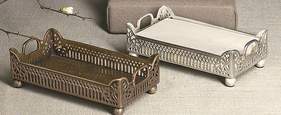 Antique Brass Gallery Guest Towel Tray