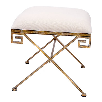 Gold Greek Key Bench with Oatmeal Linen Cushion