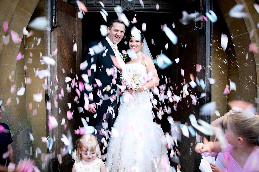 Confetti photograph at Kent wedding