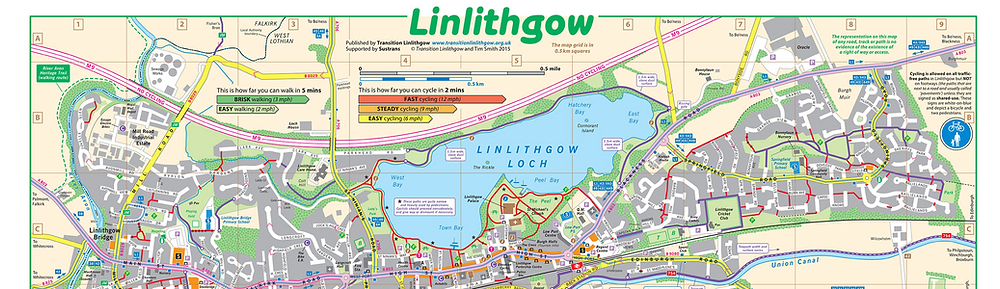 A map of Linlithgow town centre, showing how far you can walk in 5 mins or cycle in 2 mins