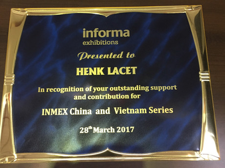 Special recognition for Mr H.G. Lacet during INMEX Vietnam