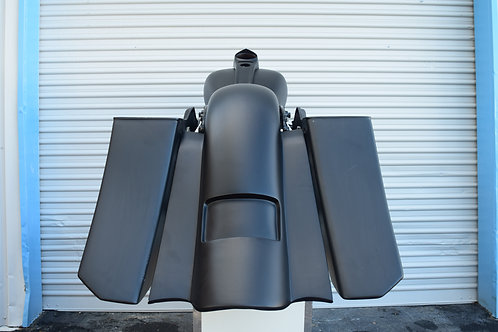 """Stretched 6"""" Down and Out Saddlebag with Rear Replacement Fender (2009-2013)"""