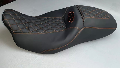 Harley Street/road Glide Seat Cover Orange Stitching And Logo 2008-2020