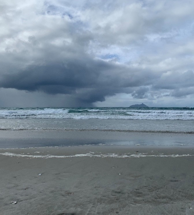 Storm looming at sea. View from the beach.
