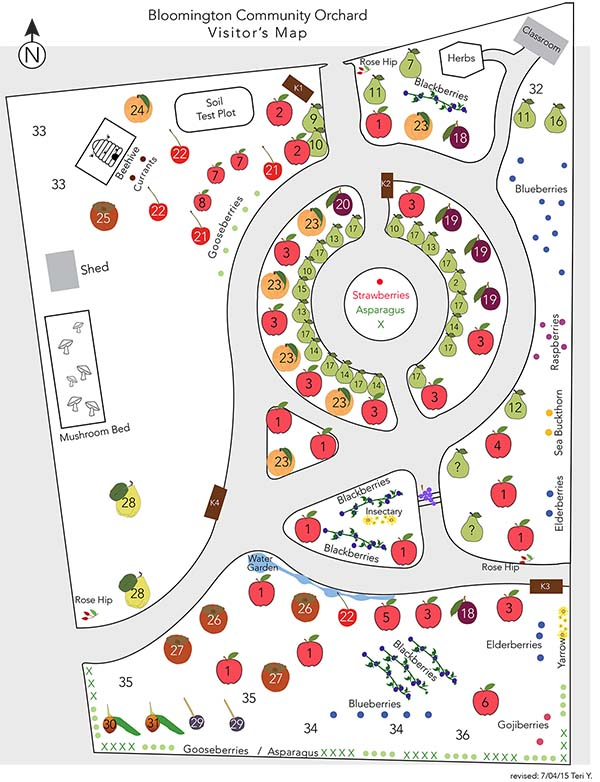 Map of Bloomington Community Orchard