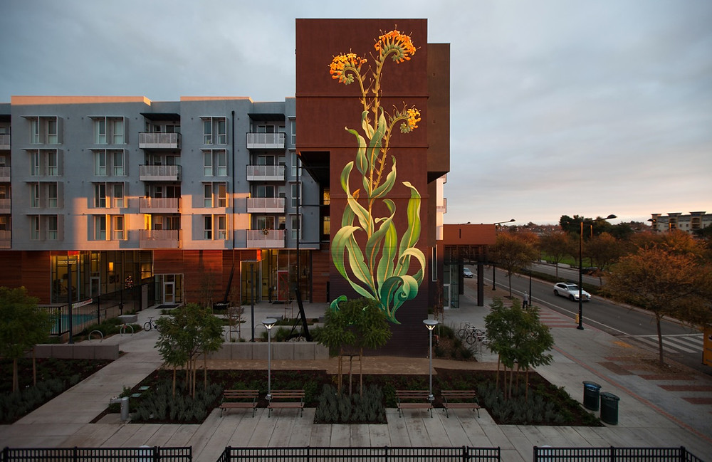 Mona Caron's heroic Taking Root mural in Union City, California. Photo by Mona Caron, all rights reserved.