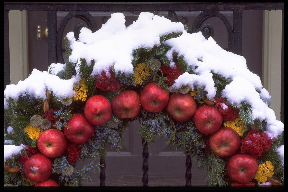 Della Robia Christmas wreath at Colonial Williamsburg. Image courtesy of Colonial Williamsburg. All Rights reserved.