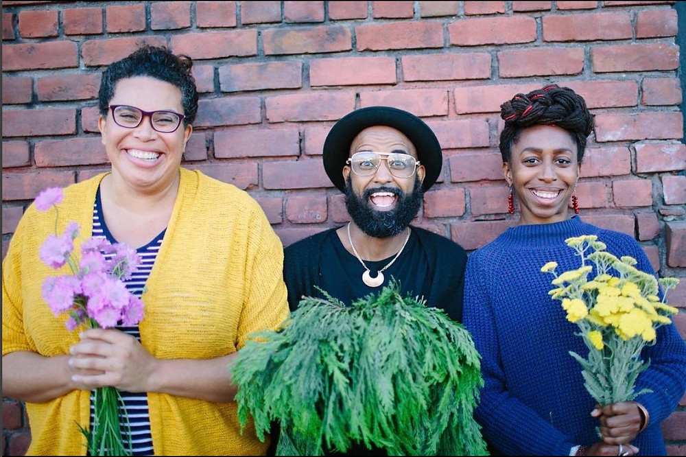 Black Sanctuary Gardens Team: (from right) Elizabeth D. Foggieto Leslie Bennett (far left), Founder and Principal Designer of Pine House Edible Gardens in Oakland, CA