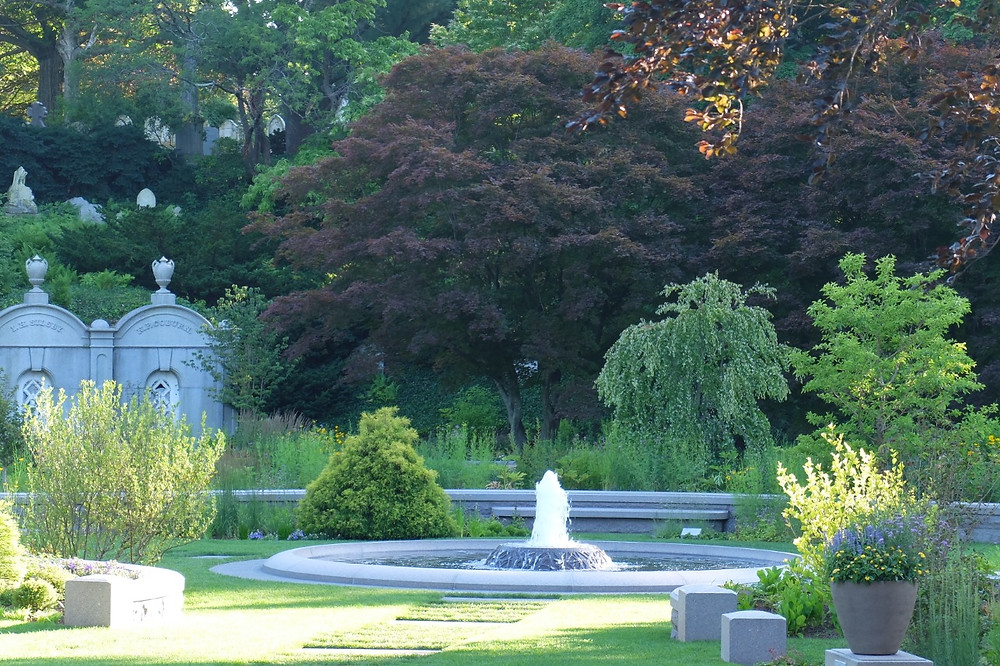The central water feature in the recently renovated Asa Gray Garden at Mt. Auburn cemetery. Photo courtesy of Mt. Auburn Cemetery, Boston, MA.