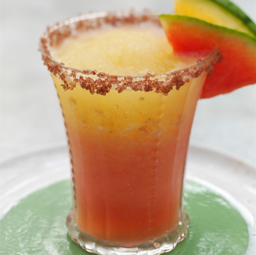 "Frozen Watermelon Margarita - from ""The Melon"" - written by Amy Goldman, photos by Victor Schrager, all rights reserved."