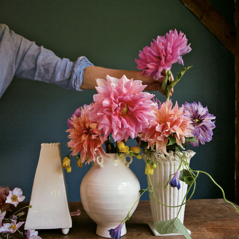 "Frances Palmer, Dahlias&Vases, Photo from ""Making a Life, Working by Hand and Discovering the Life You are Meant to Live"" by Melanie Falick (Artisan Books, 2019)"
