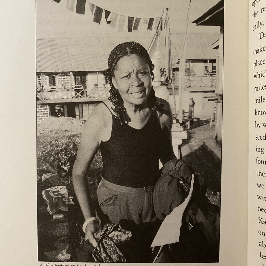 Jamaica Kincaid - packing to head home from the Himalaya. Photo by Dan Hinkley.