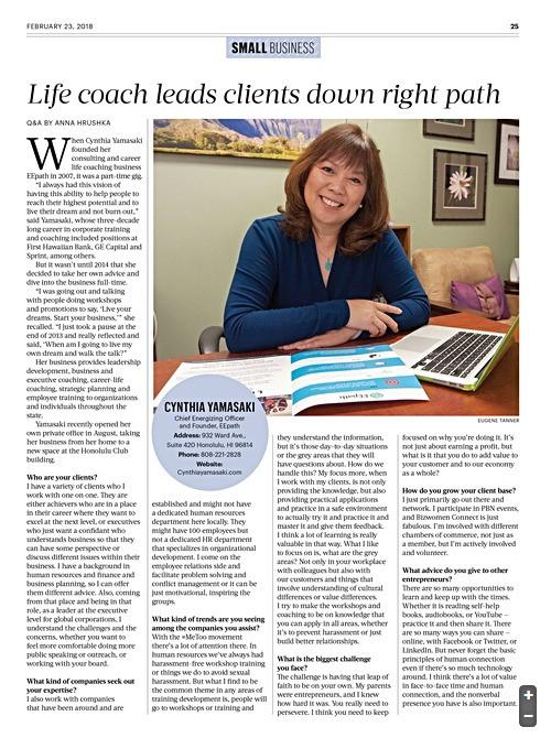 PBN Article on Cynthia Yamasaki, Business & Life Coach in Hawaii