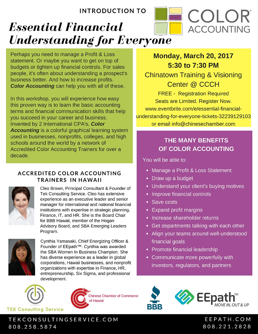 Intro to Color Accounting on March 20, 2017