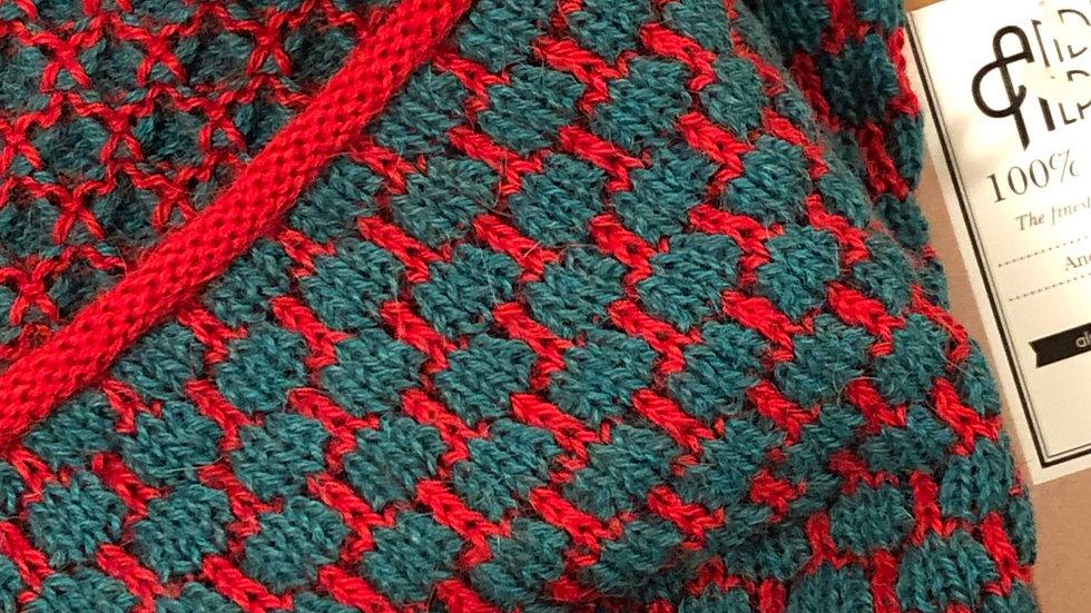 Alpaca Infinity Scarf Aqua on Bright Red