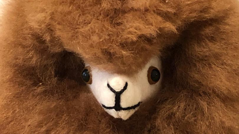REAL FUR Brown Alpaca Stuffed Animal