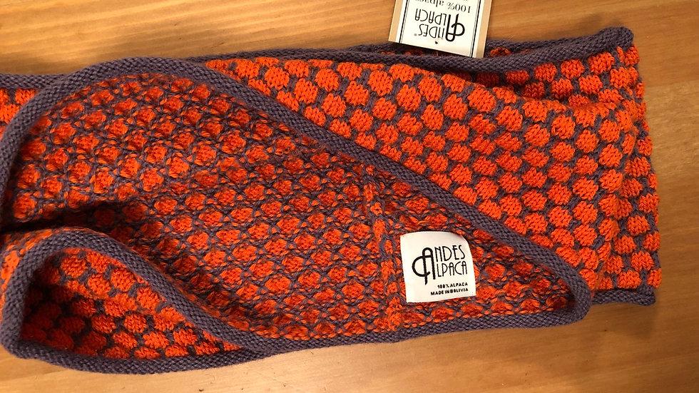 Alpaca Infinity Scarf Orange on Plum