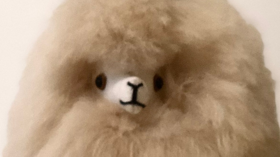 REAL FUR Beige Alpaca Stuffed Animal