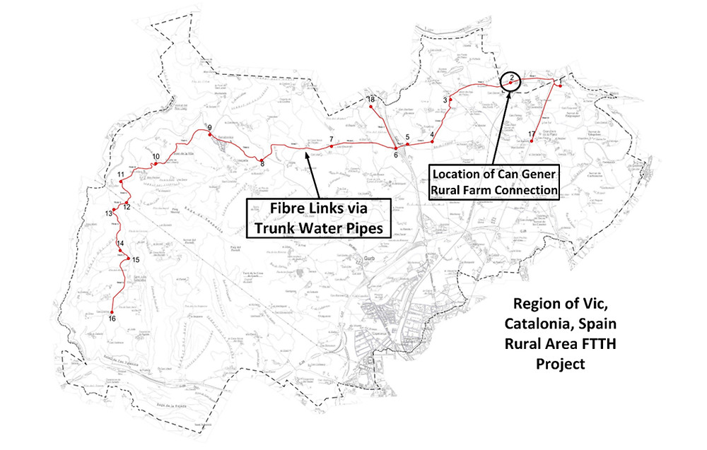 Overview image of the Atlantis Hydrotec network in Vic, Catalonia by Fibraigua