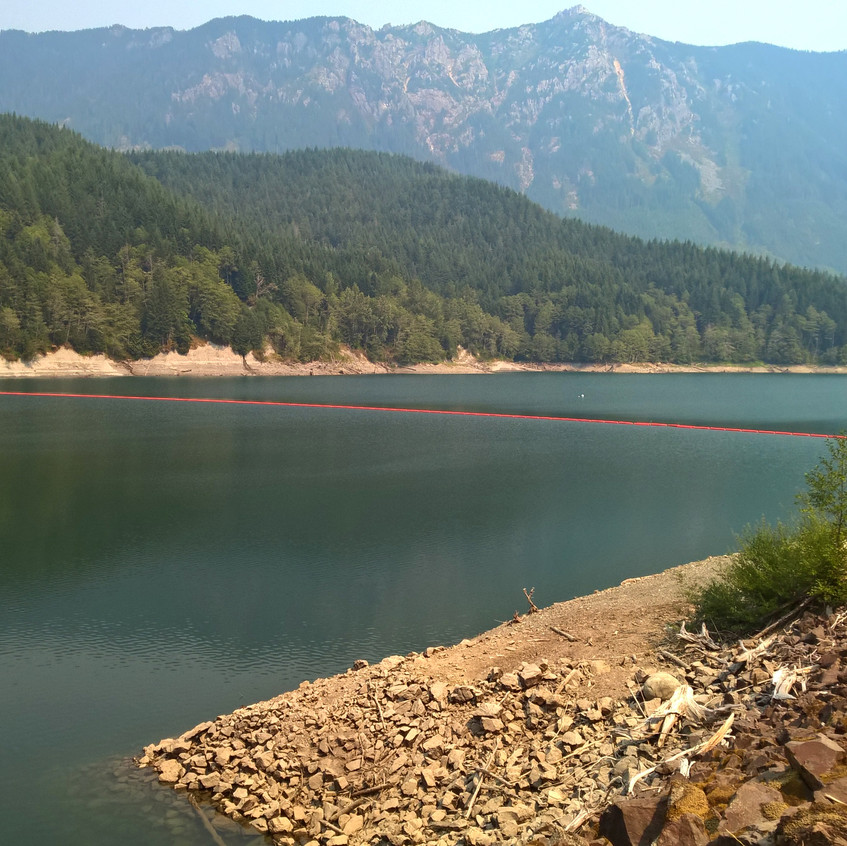The mountainous granite terrain of Lake Spada & the Culmback Dam