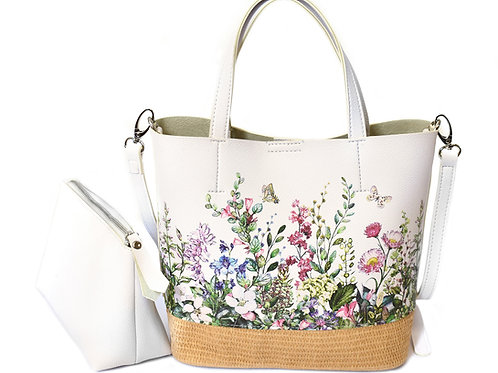 Straw & PU Floral Tote