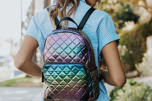 Iridescent Diamond Quilted Backpack