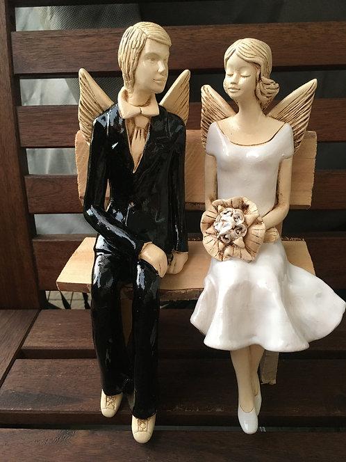 Anioły Młoda Para na ławeczce- Rękodzieło