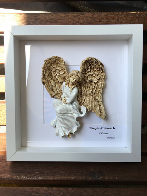 Anioł w ramce - figurka ręcznie malowana
