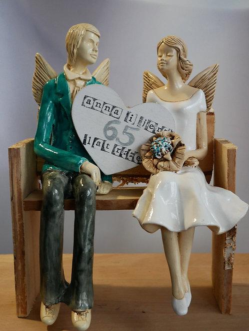 Anioły Młoda Para - rękodzieło - kolor seledyn i biały na ławce