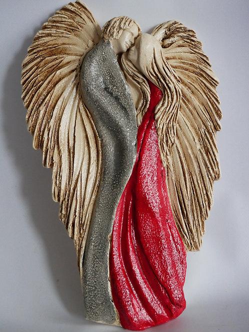 Zakochana Para  Aniołów v2 - Płaskorzeźba wisząca