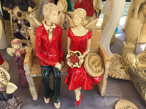 Anioły Młoda Para - rękodzieło - kolor czerwony i czerwony na ławce