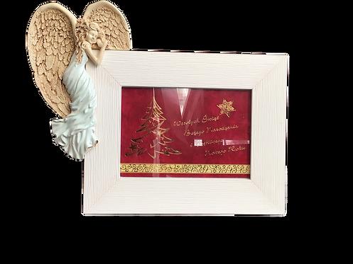 Anioł na ramkę+ ramka - Rękodzieło, figurka ceramiczna