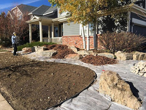The front yard will house boulders for a new Alpine-inspired planting pallette.  Reducing grass is a major trend in creating a more xeric and sustainable space.