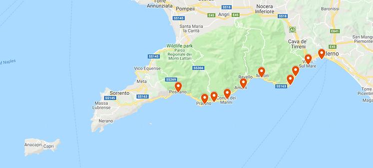 boat tour itinerary Amalfi Coast