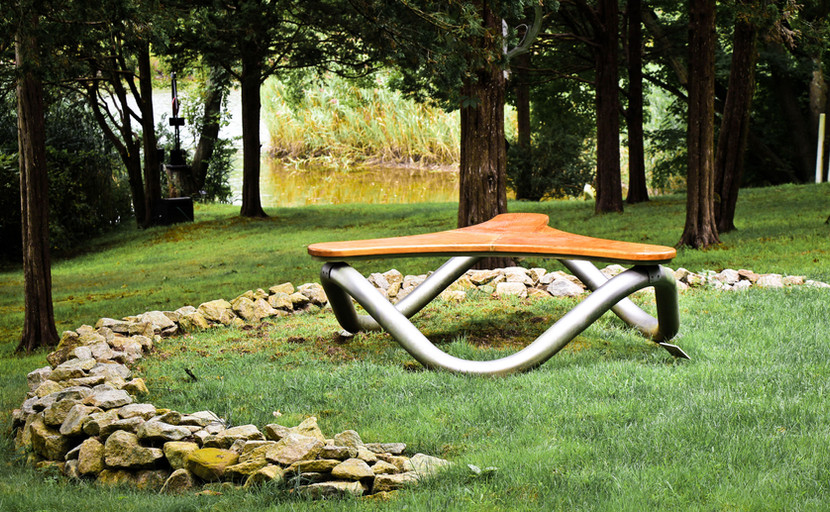 gb sculpture garden grounds bench with r
