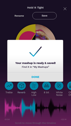 Save the final mashup- confirmation popup