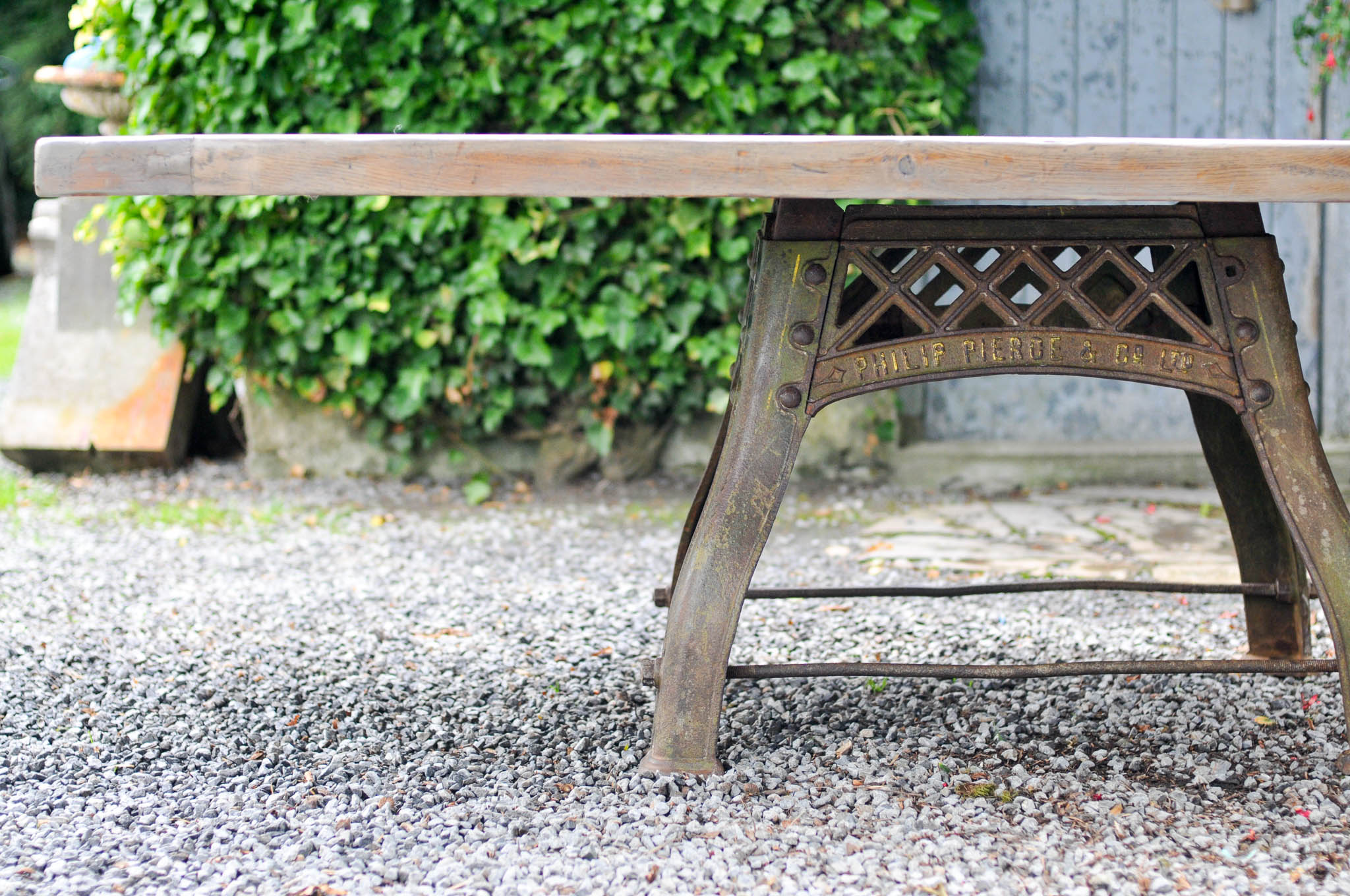 Oak Table Cast Iron Machine Base - Origi