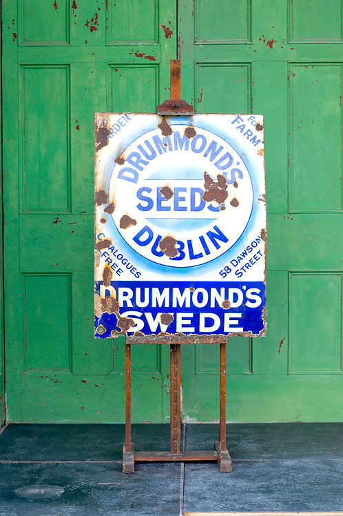 Original Vintage Drummonds Seeds Dublin Enamel Sign