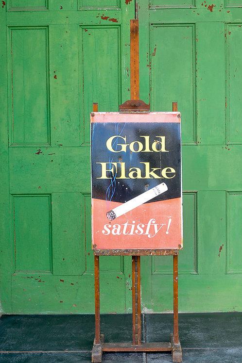 Original Vintage Gold Flake Enamel Sign