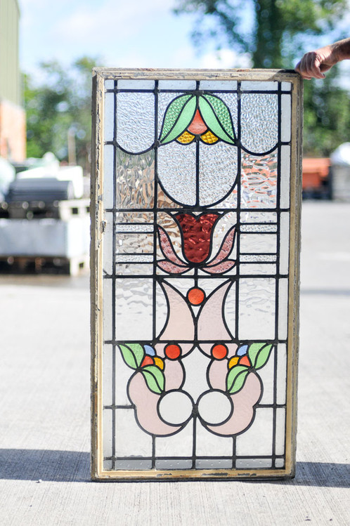 stained glass panel in steel frame