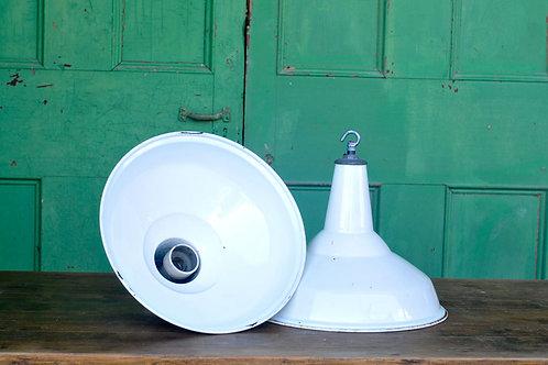 Pair of Large Vintage White Industrial Lights