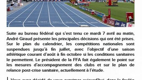🔊 Information FFA : suspension des compétitions jusqu'à fin juillet ⚠️