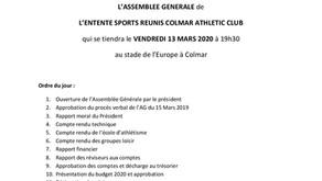 📌AG de l'ESRCAC le 13 mars 19 h 30 au stade Europe de Colmar