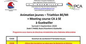 🏃♀️🏃 FC Guebwiller : animation jeunes, Triathlon BE/MI + meeting course le 5/09/20 + lancer