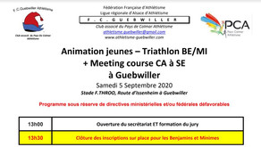 🏃‍♀️🏃‍ FC Guebwiller : animation jeunes, Triathlon BE/MI + meeting course le 5/09/20 + lancer