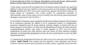 🔊 Information FFA : calendrier modifié ⚠️