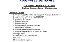 Assemblée générale du PCA le 7 février 19 h 30 au stade Europe de Colmar