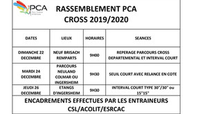 📌RAPPEL Regroupement PCA 👟Cross les 22,24 et 26 décembre 2019